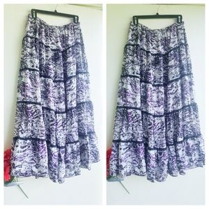 Chicos purple black white silk maxi skirt